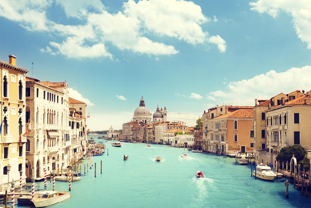 Grand Canal and Basilica Santa Maria della Salute, Venice, Italy-1
