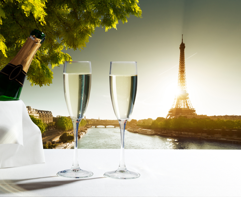 champaign Glasses and Eiffel tower in Paris-1